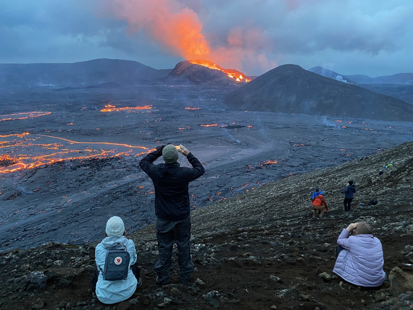 Scenic view of the erupting Fagradalsfjall Volcano.